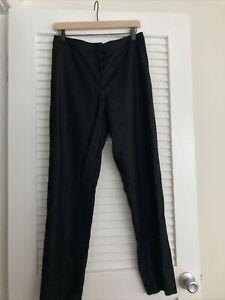 Women's Dries Van Noten Black Wool Straight Leg Pants Slacks Size 40