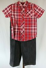 Arizona Jean Co Toddler Boys 2 Piece Short Sleeve Shirt Jeans Outfit Set Sz 4T