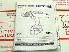 "RIDGID 18V CORDLESS 1/2"" DRILL-DRIVER OPERATOR'S MANUAL W/ IPL - MODEL#R84015 -"
