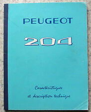 PEUGEOT 204 SALOON Car Technical Description & Characteristics 1965 FRENCH TEXT