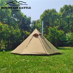 Bushcraft Pyramid Tent Lightweight 4 Season Ripstop Nylon Camping Tent with Chim