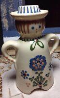 Vintage Dutch Girl Vase or Candle stick charming Folk Art painted unsigned