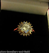 Gold ring with sim diamonds, Size P, 14k yellow gold filled, BOXED, R112 Plum UK