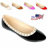 New Women's Rivet Rochstud Patent Leather Pointy Toe Ballet Flats Shoes