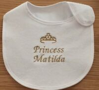 Personalised Girls Princess Baby Bib Any Name Embroidered In Any Colour