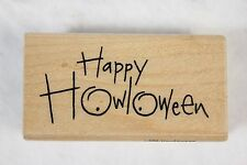 Stampendous Ollie & Olivia HAPPY HOWLOWEEN Halloween Wood Mounted Rubber Stamp!