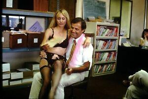 1984 candid of man with stripper at work Original 35mm SLIDE Gt11