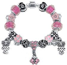 Charm Owl European Silver Metal Bracelet Austrian and Murano Crystal Chain Beads