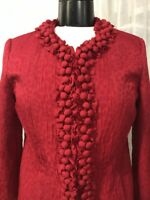 Chico's Women's Blazer Red Print Decorated Detail Lined Chico's Size 0 / 4