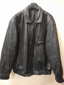 Vintage Men's Leather Bomber Jacket Size L