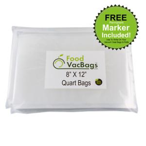 100 8X12 QUART FoodVacBags for FoodSaver machine Storage Vacuum Sealer Bags