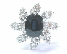Fine Gem Blue Sapphire Diamond White Gold Jewelry Ring 1.85Ct