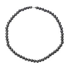Frauen Maenner Dunkelgrau Rundes Haematit Korn Magnetische Halskette