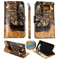 Wallet Camo Tail Deer Brown Oak  For Samsung Galaxy S6  Flip ID Leather Case Cov