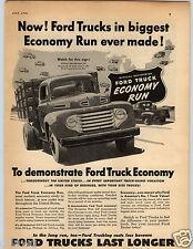 1950 PAPER AD Truck Ford Big Jobs Pickups 95 HP 145 Economy Run Study