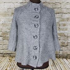 M Rena Mohair blend Winter Sweater Western Boho Womens Size S Gray chunky