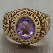 1945 New York University NYU 14k Yellow Gold Amethyst Class Ring
