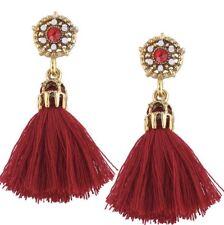 Fashion Vintage Red & Gold Tassel Drop Dangle Boho Flower Crystal Stud Earrings