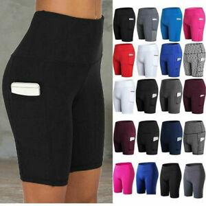 Women High Waist Yoga Shorts Pocket Gym Cycling Biker Hot Pants Sports Leggings