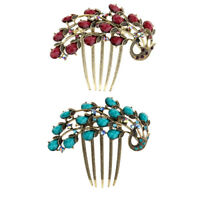 2x Women Side Comb Crystal Hair Comb Slides Peacock Hair Clips Inserts Pins