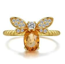 925 Silver Citrine Gem Queen of Bee Animal Wedding Engagement Ring Wholesale