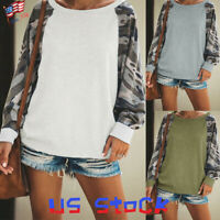 Women Tops Hoodie Camo Printed Patch Long Sleeve Pullover Knit Casual Sweater US