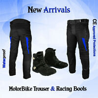 Motorbike Motorcycle Textile Cordura Trouser Pant Waterproof Leather Shoes Boots