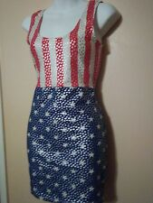NWOT - CARABELLA COLLECTION  RED WHITE BLUE with silver stars DRESS small