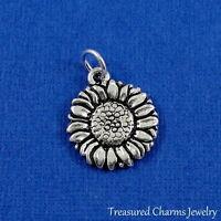 Silver Sunflower Charm - Spring Flower Daisy Pendant Jewelry NEW