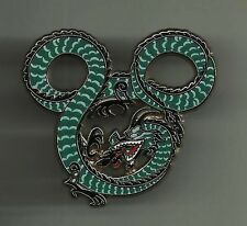 WDI Disney MICKEY MOUSE Head Fire Breathing Dragon Green on Silver Metal LE PIN