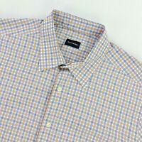 Ermenegildo Zegna Men's Long Sleeve Dress Button Shirt Blue/Brown Plaid • XL