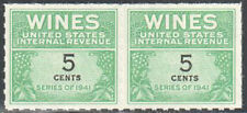Sc#Re117 - 5c - Internal Revenue Cordial & Wine Stamp Ngai Horizontal Pair Mnh