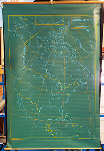 Vintage ORIGINAL map, rare, south and north AMERICA front and back FROM PANAMA