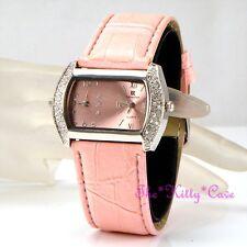 Pink & Silver Ladies Dual Dial Twin Time Multi Zone Watch w/ Swarovski Crystals