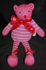 "Pink White Valentine Sock Monkey Teddy Bear Red Heart Bow Plush Stuffed 13"" Toy"