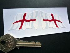 "St George Cross ENGLISH Flag Wavy STICKERS 2"" Pair England Car Bike Motorcycle"