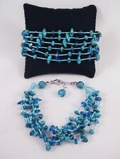 Set of Two New Multi Strand Turquoise Colored Bracelets #B1131-2