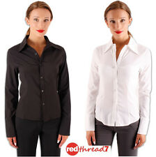 Womens Work Fitted Stretch Button Blouse Shirt Corporate Business Top Whit Black