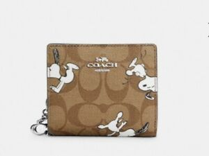 Nwt Coach X Peanuts C4591 Snap Wallet In Signature C Canvas With Snoopy Print