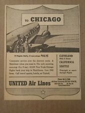 1941 United Airlines to Chicago Ad