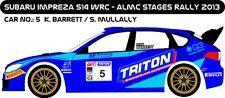 DECALS 1/43 SUBARU IMPREZA WRC - #5 - BARRETT - RALLYE ALMC STAGES 2013 - D43234