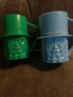 Vintage Mr Peanut Planters Peanuts BLUE & GREEN Cup Mug Plastic Rare (2) New