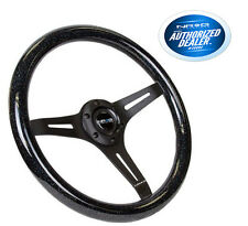 "NRG Steering Wheel Wood Grain 350mm Black Sparkled Color 2"" Deep ST-015BK-BSB"