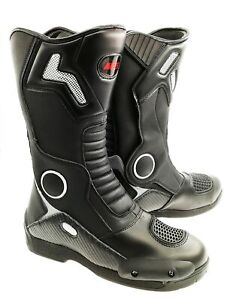 Black Armoured Synthetic Leather Waterproof Motorbike Race Sport Boots