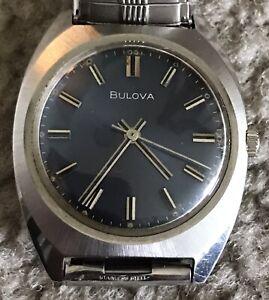 Vintage Bulova M9 Blue Dial Mens Wristwatch Mechanical Wind