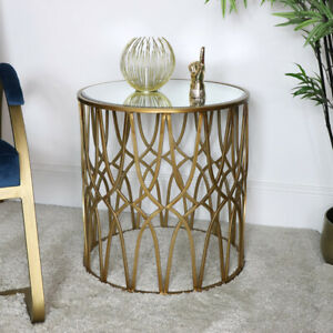 Gold Mirrored Ornate Side Table art deco vintage luxurious home decor accent