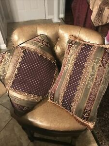 """Croscill Townhouse Two Throw Pillows 17x17"""" and  19x14 Burgundy Gold Green"""