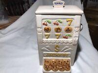 Treasure Craft White Charming Jack Pot-Slot MachineCookie Jar /Trump Marina