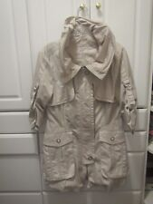 Kello Womens DK Size 38 USA Size M Tan Zippered Jacket Pockets Wired Collar