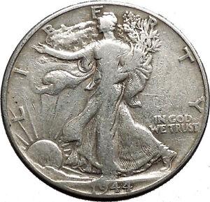 1944 WALKING LIBERTY Half Dollar Bald Eagle United States Silver Coin i44721